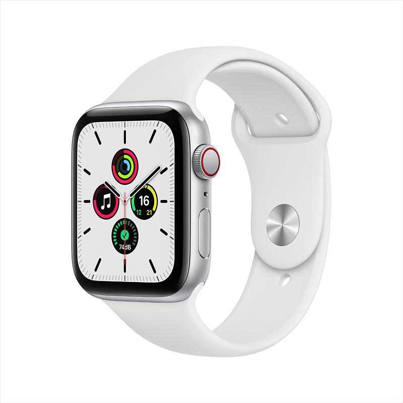 Apple 苹果 Watch SE 智能手表 44mm GPS 银色铝金属表壳 白色运动型表带 (血氧、GPS、扬声器)