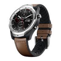 TicWatch Pro 4G智能手表 45mm 流光银表盘 棕色皮革表带(GPS、NFC)