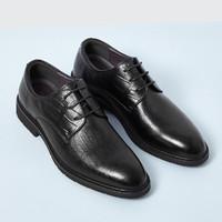 RED DRAGONFLY 红蜻蜓 男鞋新款尖头系带男士皮鞋正装英伦风商务男皮鞋德比鞋 黑色