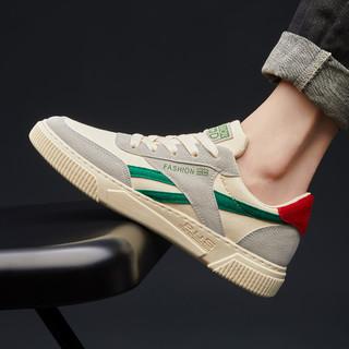 oulisasi 欧利萨斯 新款时尚板鞋男款帆布鞋潮男运动休闲鞋男士跑步鞋男鞋 灰绿灰绿