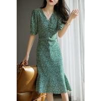 夏季新款2021年南法碎花前侧褶皱荷叶边连衣裙 XL 绿色