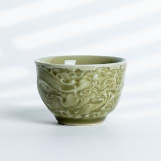 xigu 熹谷 青瓷 精刻龙凤陶瓷主人杯 暖黄