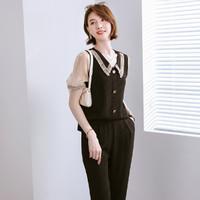 FORTEI 富铤 21夏新款时尚拼接雪纺袖蕾丝翻领衬衫+拉链长裤休闲套装女时尚
