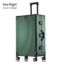 InteRight INTERIGHT 铝镁合金拉杆箱万向轮商务行李箱 墨绿色24英寸