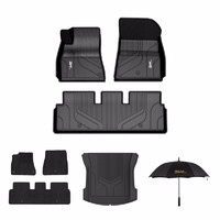 3W 特斯拉model3专车专用定制豪华套餐TPE汽车脚垫+毯面+专用尾箱垫+3W雨伞