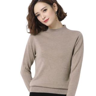 恒源祥 半高领羊毛衫女士薄款针织打底衫套头毛衣