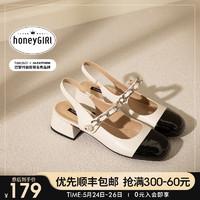honeyGIRL甜粉包头凉鞋女2021夏季新款复古粗跟玛丽珍鞋百搭中跟