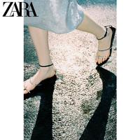 ZARA夏季新款女鞋 黑色气质仙女水钻一字带平底凉鞋 12603710040