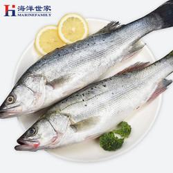 MARINEFAMILY 海洋世家 去鳃去内脏白蕉海鲈鱼 400-450g*1条装