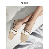PEDRO小牛皮乐福鞋女士金属插带饰休闲平跟单鞋PW1-66480048 米色 35