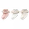 馨颂 U058F 婴儿袜子 3双装 蕾丝花边粉白米 0-6个月