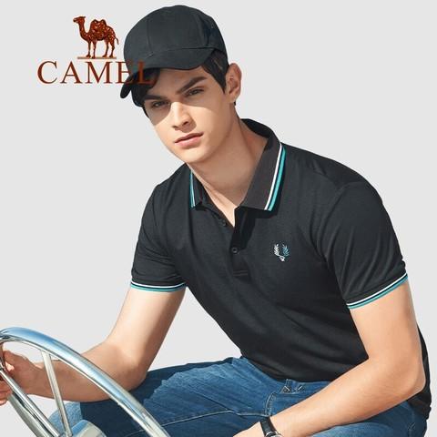 CAMEL 骆驼 男装 短袖polo衫男2021夏季韩版刺绣商务休闲上衣打底潮流 XBB192070 黑色XXXL