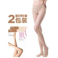ATSUGI 素肌感天鹅绒  日本进口超值2包装 春夏薄款丝袜连裤袜 亮肤色 M