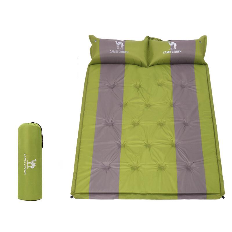 CAMEL 骆驼 带枕双人充气垫 A8W0O5002 草绿拼灰