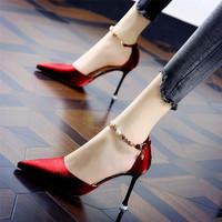 述雅槿岸高跟鞋细跟性感2020新款夏欧美水钻一字带尖头单鞋红色新娘婚鞋女 红色 38