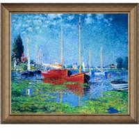 克劳德·莫奈油画《成双的红帆船》75×66cm 油画布 画框典雅栗(偏金色)