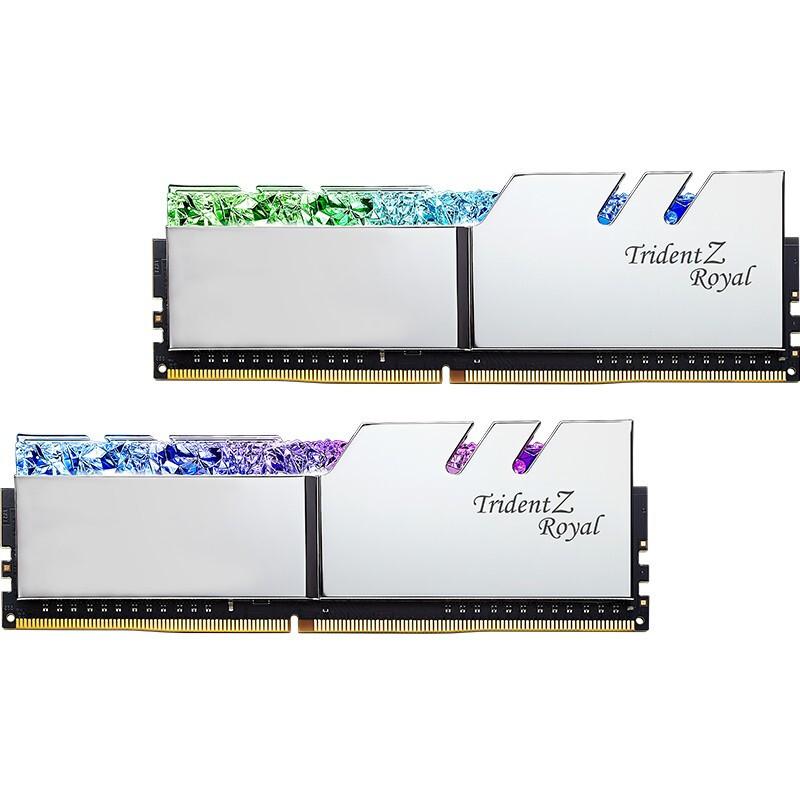 G.SKILL 芝奇 32GB(16G×2)套装 DDR4 4000频率 台式机内存条-皇家戟RGB灯条(花耀银)
