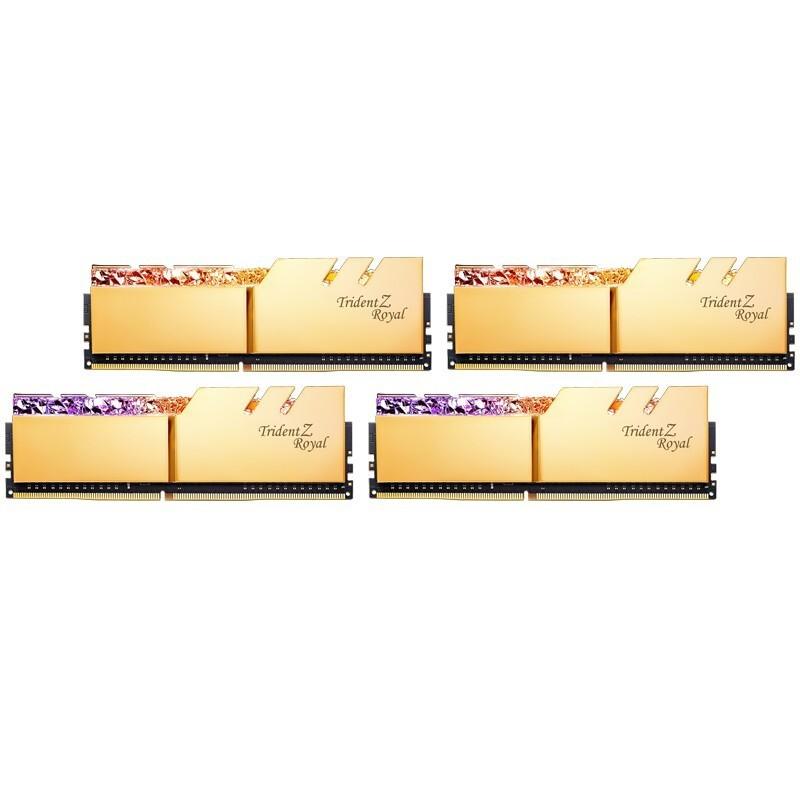 G.SKILL 芝奇 64GB(16G×4)套装 DDR4 3600频率 台式机内存条-皇家戟RGB灯条(光耀金)