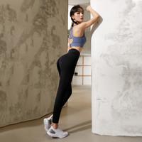 暴走的萝莉 夏新款瑜伽裤女高腰运动紧身裤女瑜伽健身裤 午夜黑 M