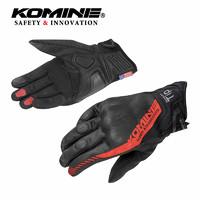 KOMINE 山羊皮夏季内置欧盟CE认证护具网眼摩托骑士骑行手套GK-237 黑红 L