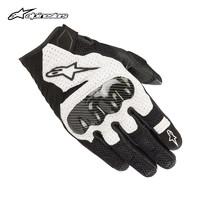 a星 alpinestars 摩托车骑行手套夏季机车骑士装备皮手套SMX-1 v2 黑白 M