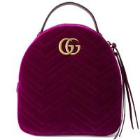 GUCCI 古驰 GG Marmont系列 女士天鹅绒双肩包 524568 9QICT 5671 紫红色