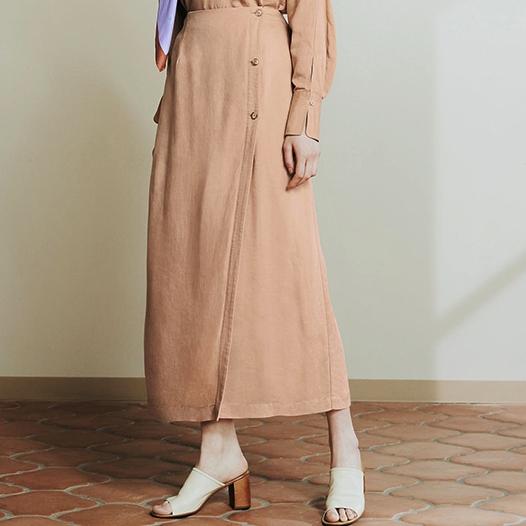 UNIQLO 优衣库 435822 花式麻混纺裹裙