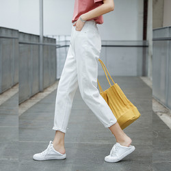 LA CRAWFISH 2021夏装时尚白色直筒高腰九分萝卜老爹女士牛仔裤