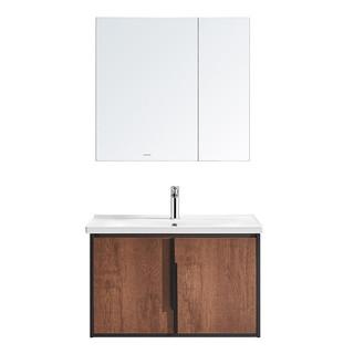 HUIDA 惠达 实木浴室柜卫生间洗脸盆镜柜洗手盆洗漱台组合套装北欧工业风 1382-80