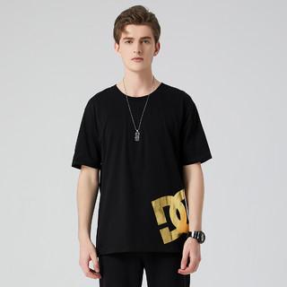 DC SHOES GDYZT03202 男式烫金LOGO圆领短袖T恤