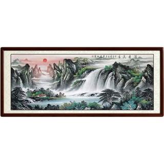 尚得堂 手绘山水画风水《源远流长》客厅办公室挂画 165*85 沙比利实木框