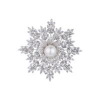 Eternelle 雪花系列 xz00499 花朵胸针 铂金色