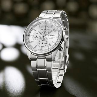 SEIKO 精工 石英手表 三眼计时系列腕表 运动简约商务钢带男表 SSB375P1