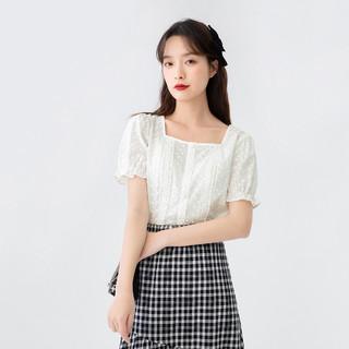 INMAN 茵曼 衬衫女士新款上衣夏天纯棉方领女荷叶短袖显瘦减龄小清新白色衬衣