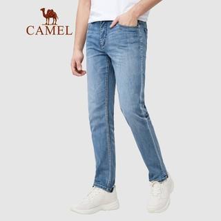 CAMEL 骆驼 男装 牛仔裤男2021春季弹力水洗宽松直筒休闲裤子男 XBX467126 蓝色34