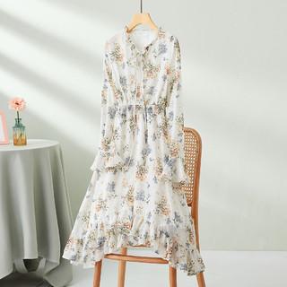 Puella 拉夏贝尔旗下夏季显瘦新款V领长袖碎花连衣裙中长款修身高腰裙子