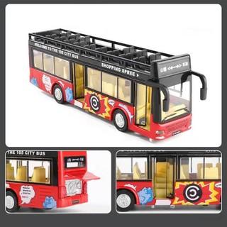 邦娃良品 双层露天公巴士 声光+双门可开 颜色随机
