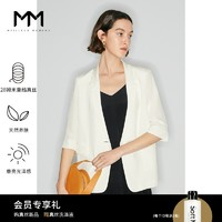 MM麦檬21夏新款28姆米重绉真丝白色中袖西装外套女薄款5C4212431S 白色 160/84A/M