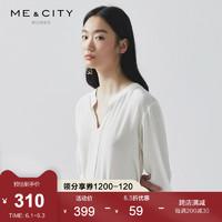 ME&CITY 女装春夏新款真丝落肩中袖半开领套头廓形衬衫 521799 鹭白 165/88A/L