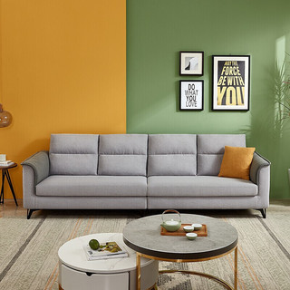 QuanU 全友 家居 现代简约布艺沙发 仿棉麻可拆洗客厅沙发家具 含1cm乳胶坐垫 大小户型沙发102567