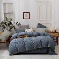 南极人 亚麻四件套床单床笠被套枕套亲肤加厚舒适保暖床上用品套件 棉亚麻-牛仔蓝 1.8m适用床笠款四件套(被套200×230cm)