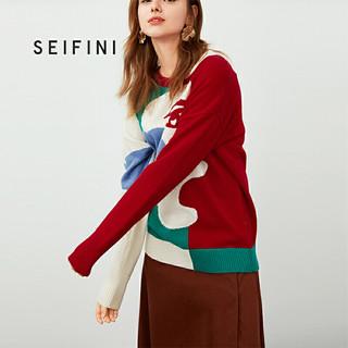 SEIFINI 诗凡黎 套头衫女冬宽松针织衫慵懒风女士毛衣