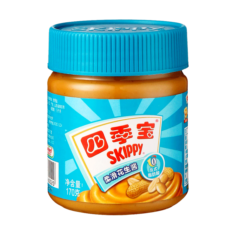 SKIPPY 四季宝 【买一送一】四季宝花生酱烘焙原料 柔滑170g+送颗粒花生酱170g