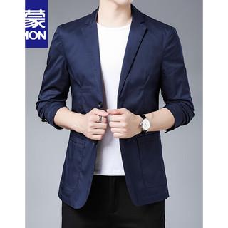 ROMON 罗蒙 弹力休闲商务西服男士单西秋季薄款潮流修身小西装外套 深蓝色 185
