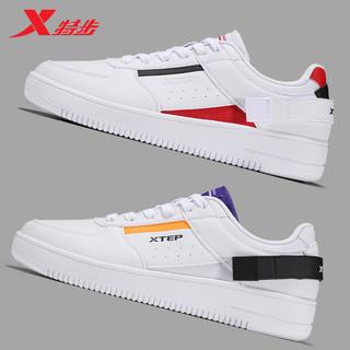 XTEP 特步 男鞋板鞋2021夏季新款空军一号小白鞋透气白色休闲鞋运动鞋男