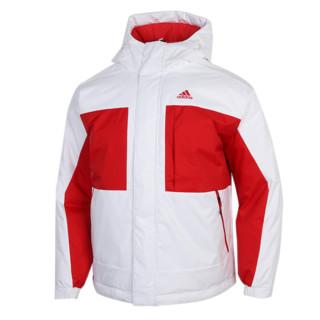adidas 阿迪达斯 拼色羽绒服男装新款白色外套防风运动服GF0082