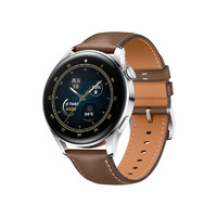 HUAWEI 华为 WATCH 3 时尚款 eSIM智能手表 46.2mm 钢色陶瓷表盘 棕色皮革表带(GPS、血氧)