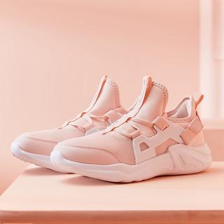 QIAODAN 乔丹 旗舰运动鞋学生网面粉色休闲鞋跑鞋华莱士女鞋 海贝粉/白色 37