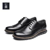 七面男鞋轻质运动德比鞋商务休闲西装布洛克雕花正装皮鞋 男款皮面 黑色(MW73SD01) 38