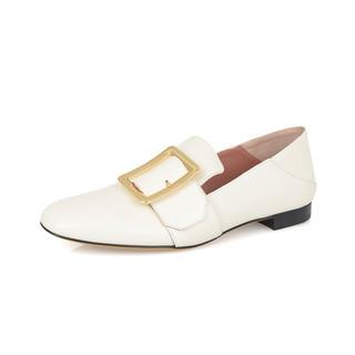 BALLY 巴利 618开门红:【直营】Bally/巴利牛皮方扣女鞋平底鞋乐福鞋一脚蹬休闲单鞋白色